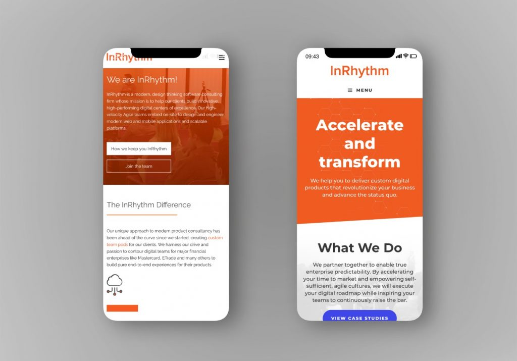 Old vs New InRhythm Mobile Responsive Design